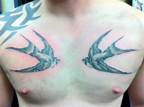 tattoo chest swallows realistic chest swallow tattoo by cake happy tattoo