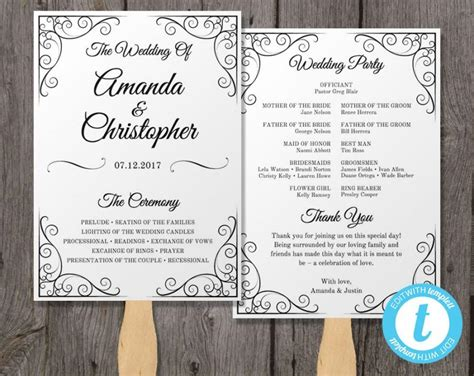 wedding programs fans templates vintage wedding program fan template fan wedding program