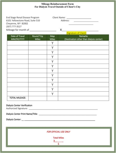 travel expense reimbursement form template 5 mileage reimbursement form templates for word and excel 174