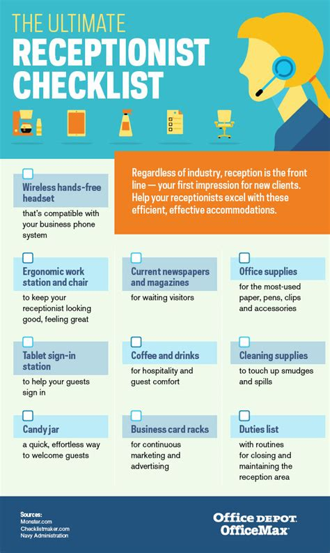 Office Depot the ultimate receptionist checklist