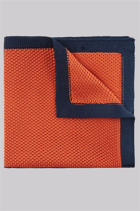 how to knit a handkerchief moss orange knitted pocket square