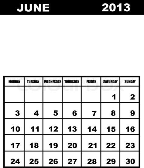 Calendar June 2013 June Calendar 2013 Stock Vector Colourbox