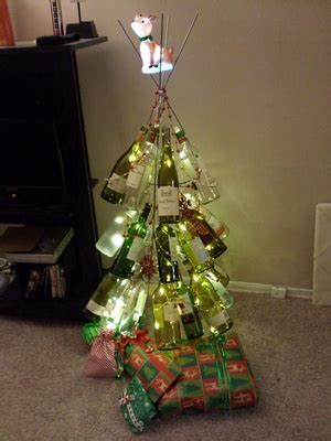christmas tree made out of wine bottles for the home