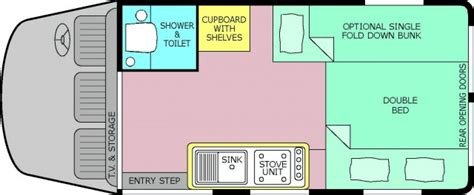 Bunk Beds Designs 3 berth motorhome with toilet and shower