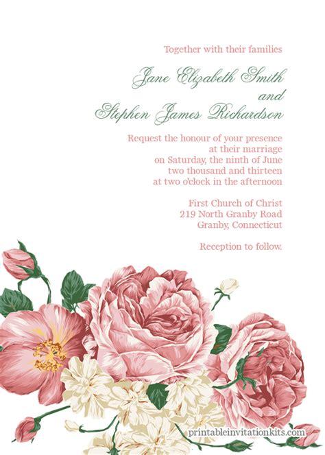 flower design wedding invitation 10 free and fabulous printable wedding invitations