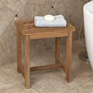 teak wood honeycomb shower stool