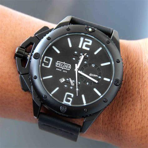 Jam Cowok Quiksilver Leather Black Chrono Aktif jual beli jam tangan pria cowok welder wd200 leather black 00829 baru jam tangan pria model