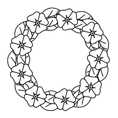 poppy wreath coloring page remembrance day easy word search wreath
