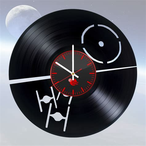 clock made of clocks star wars handmade vinyl record wall clock fan gift