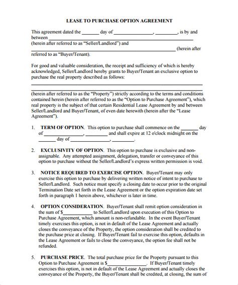 real estate option agreement template sle property purchase agreement 7 exles format