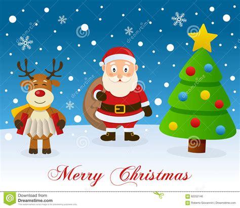 arboles de naviadad con santa clous 193 rbol de navidad reno y santa claus ilustraci 243 n vector ilustraci 243 n de historieta