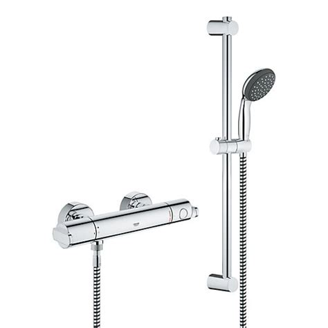 Grohe Shower Installation Manual by Grohe Get Thermostatic Mixer Shower Chrome Wickes Co Uk