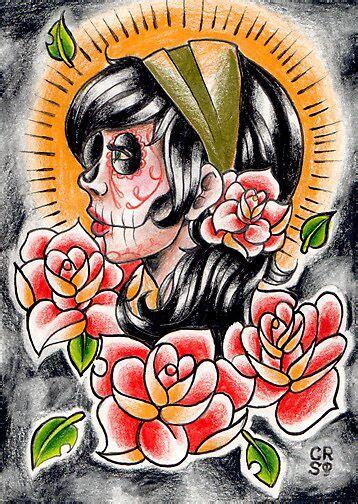 day   dead gypsy tattoo flash drawing