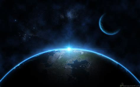 best space glowing earth and moon space wallpaper