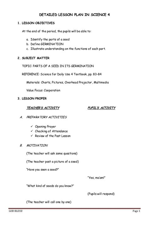components of a lesson plan template detailed lesson plan in science 4