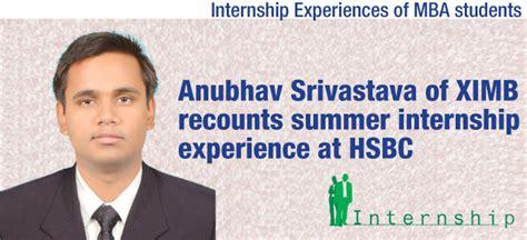 Mba Work Experience Internship by Mba Internship Experience Ximb Student Anubhav Srivastava