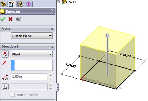 solidworks tutorial extrude how to create simple box