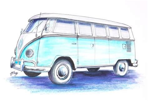 volkswagen old van drawing line drawing of old cars vw bus drawing by terence john
