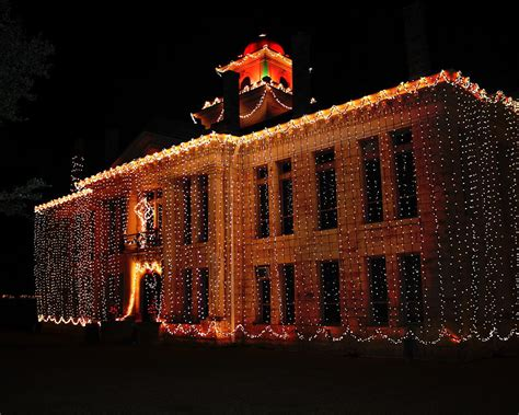 christmas lights johnson city courthouse texas photograph