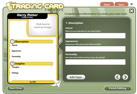 how to make a name card create trading cards teachbytes