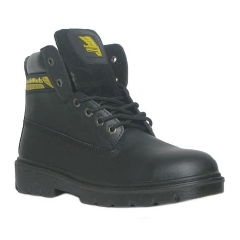 earth works mens lace up safety boot in black shoe zone