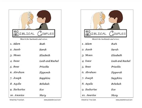 day activities for couples biblical couples matching printable