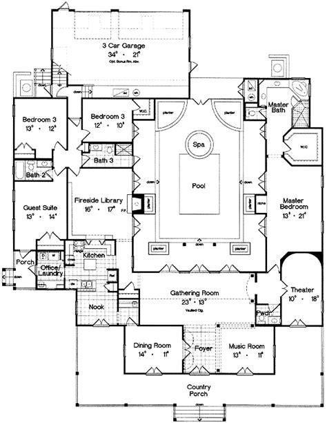 center courtyard house plans center courtyard and home theater 6438hd architectural