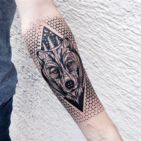 geometric bear tattoo meticulously stippled ornamental tattoos by kinzer