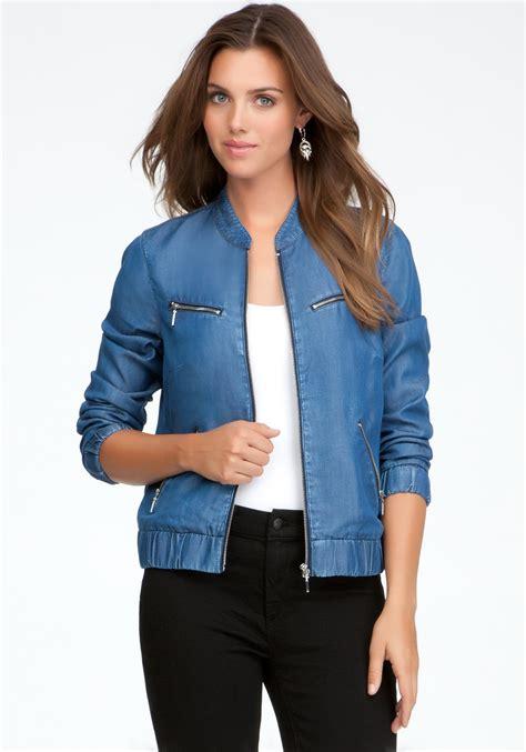 light blue bomber jacket bebe light weight denim bomber jacket in blue lyst