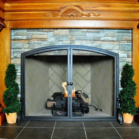 large single panel olde world iron fireplace screen with
