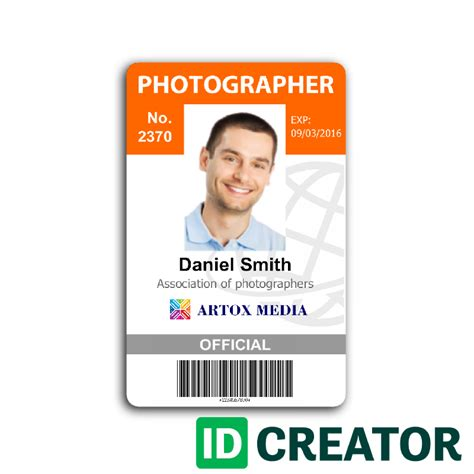 Id Card Template by Photographer Id Card Call 1 855 Make Ids With Questions