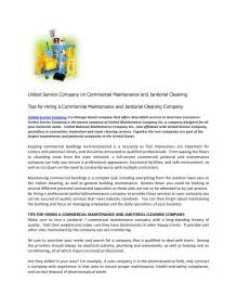 united service company on commercial maintenance and