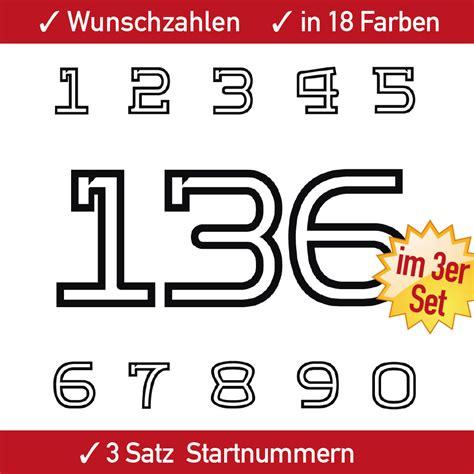 Zahlen Aufkleber Motorrad by Rennsport Nummer 3x3 Ziffern Zahlen Aufkleber Set F 252 R
