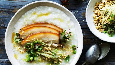 chinese comfort food pork belly congee with ginger and soy recipe good food