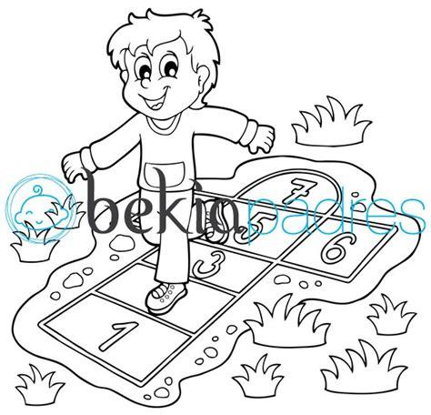 dibujos niños jugando para imprimir rayuela dibujo para colorear