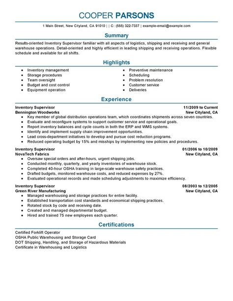 best inventory supervisor resume exle livecareer