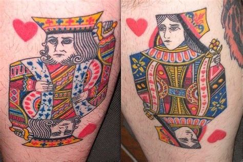 king and queen of hearts tattoo two tattoos that depict typical card designs for