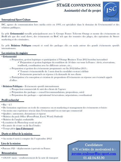 Lettre De Motivation Stage Transport Et Logistique Diapositive 1 Stage Assistant Chef De Projet 233 V 233 Nementiel Septembre 2012 Pdf Fichier Pdf