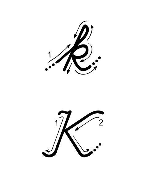 lettere alfabeto in corsivo maiuscolo e minuscolo lettere e numeri lettera k con indicazioni movimento