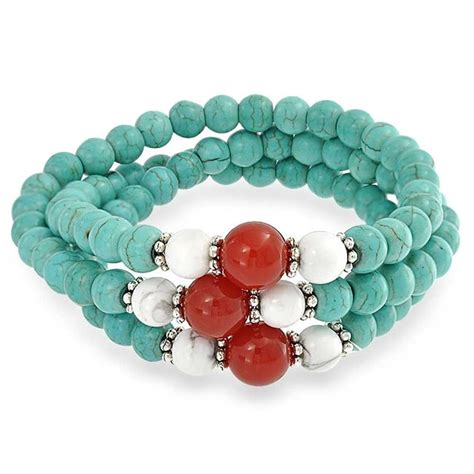 Turquoise Carnelian Howlite Gemstone Bead Triple Stretch Bracelet