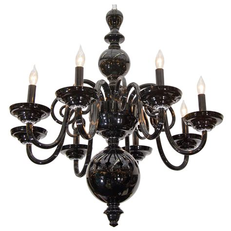 Black Murano Glass Chandelier Midcentury Eight Arm Black Glass Murano Chandelier At 1stdibs