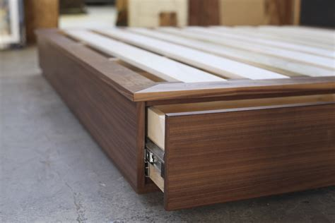 plywood platform bed california king sized walnut bed with solid walnut