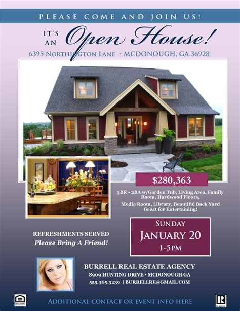 real estate listing flyer template real estate open house flyer template microsoft publisher