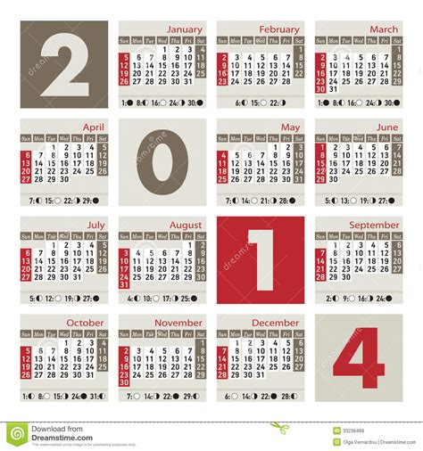 Calendario C Lua 2014 A 2014 Calendar Royalty Free Stock Images Image 33236489
