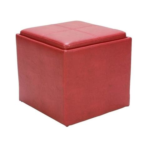Trent Home Ladd Faux Leather Storage Cube Ottoman In Red Leather Storage Cube Ottoman