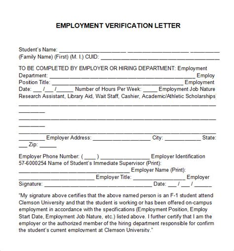Employer Proof Of Employment Letter Sle free employment verification letter template 28 images