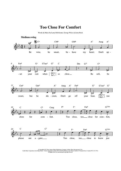 too close for comfort song too close for comfort sheet music music for piano and