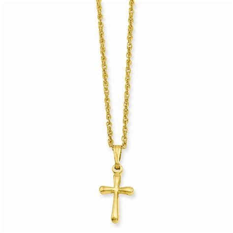 gold plated small plain rounded cross necklace