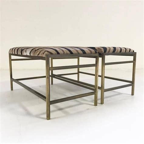 zebra bench ottoman mccobb style brass and zebra hide benches or ottomans for