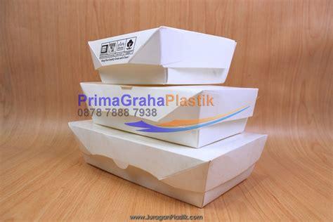 Lunch Box Kertas Ukuran Besar lunch box paper hamburger nasi goreng martabak small medium large stock ready home